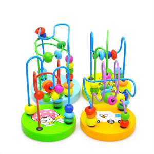 Children Kids Cartoon Wooden Mini Circle Bead Maze Bead Puzzle Educational Toy