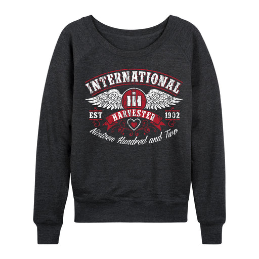 International Harvester Arch Wings, Distressed Ladies French Terry Pullover