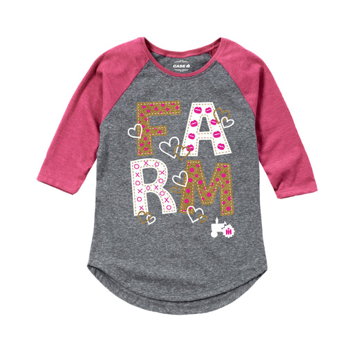 Farm Gold Glitter Kids Shirt Tail Raglan