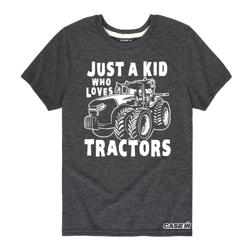 Just A Kid Who Loves Tractors Kids Short Sleeve Tee
