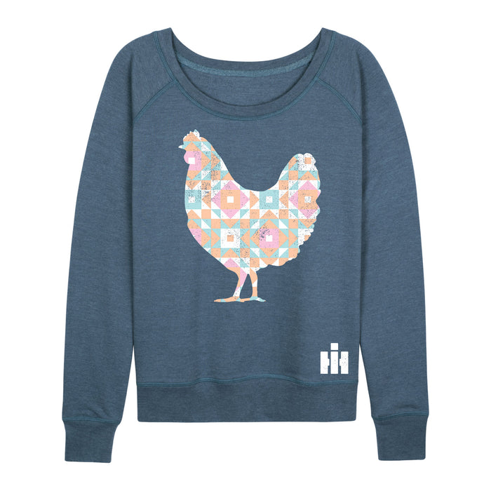 Patchwork Chicken Ih Ladies French Terry Pullover