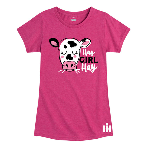 Hay Girl Hay Cow IH Girls Short Sleeve Tee