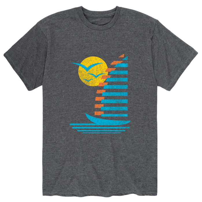 Sailboats, Gulls Retro Distr. Mens Short Sleeve Tee