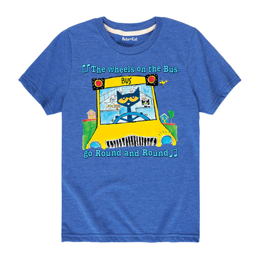 Pete The Cat Wheels On The Bus Multi Kids Short Sleeve Tee