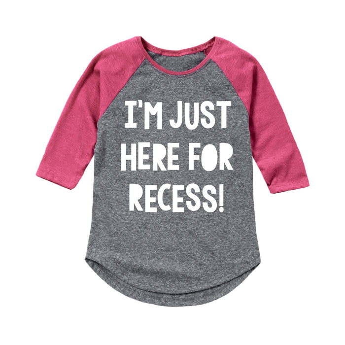 Im Just Here For Recess Kids Raglan