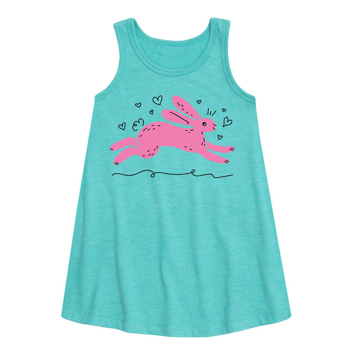 Pink Bunny - Youth Girl A-Line Dress
