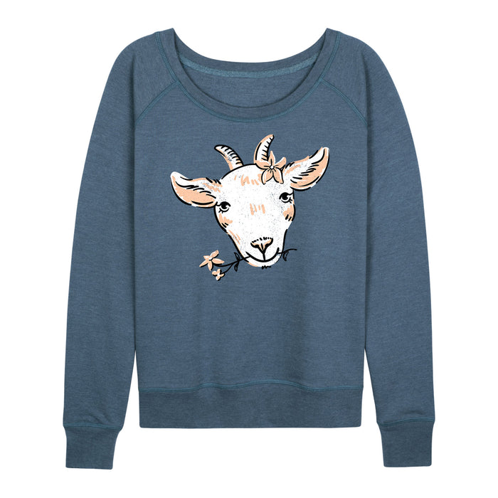Goat And Flowers Ladies French Terry Pullover