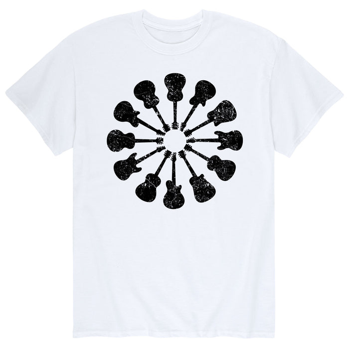 Guitars, Circular Black Men's Short Sleeve T-Shirt