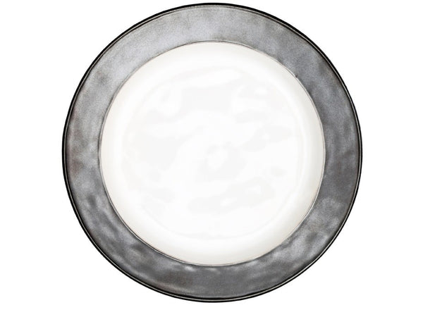 Emerson White/Pewter Dinner Plate