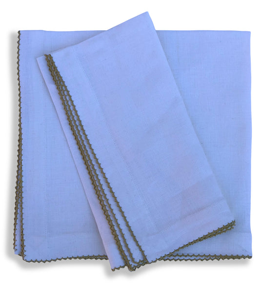 Linen Dinner Napkin with Picot Edge