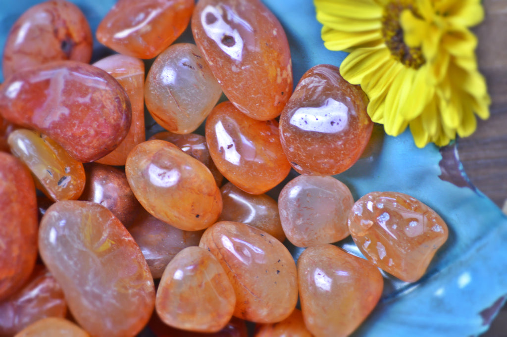 Orange Carnelian Tumbled Stone Kit | Healing Crystals | Sacral Chakra | Color Therapy Sacred Soul Stones
