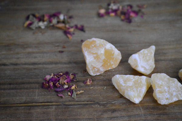 Rough Orange Calcite (Mexico) Stone Set for Positive Energy and Healing
