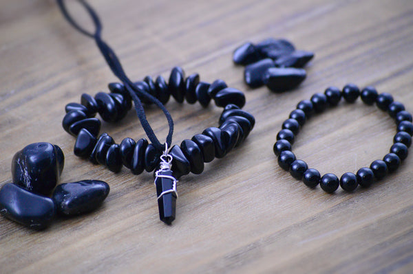 Black Tourmaline, Onyx, Obsidian Crystal Jewelry Set | Protection, Courage Stones Sacred Soul Stones