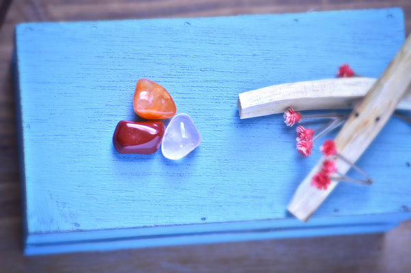 Sexual Recharge Tumbled Stone Kit | Orange Carnelian | Red Jasper | Rose Quartz - Sacred Soul Stones