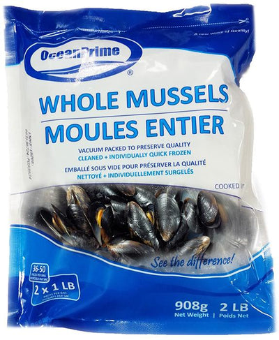 MUSSELS WHOLE-CKD 18-25 CT/LB 454g