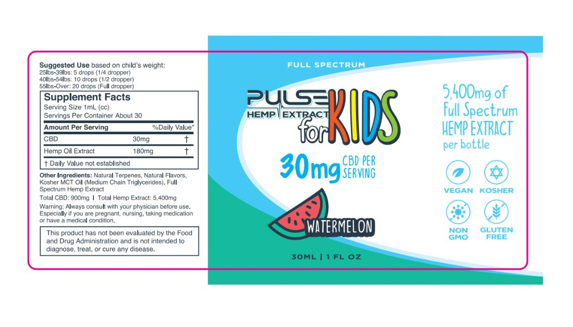 Pulse CBD Kids 5400mg - Watermelon
