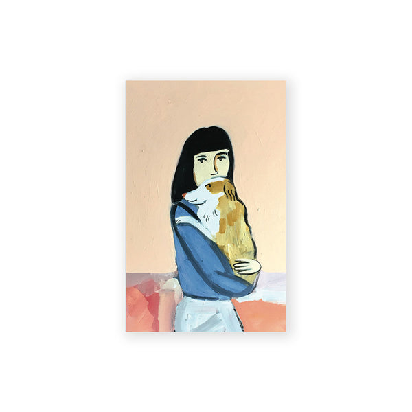 Girl with Dog Postcard