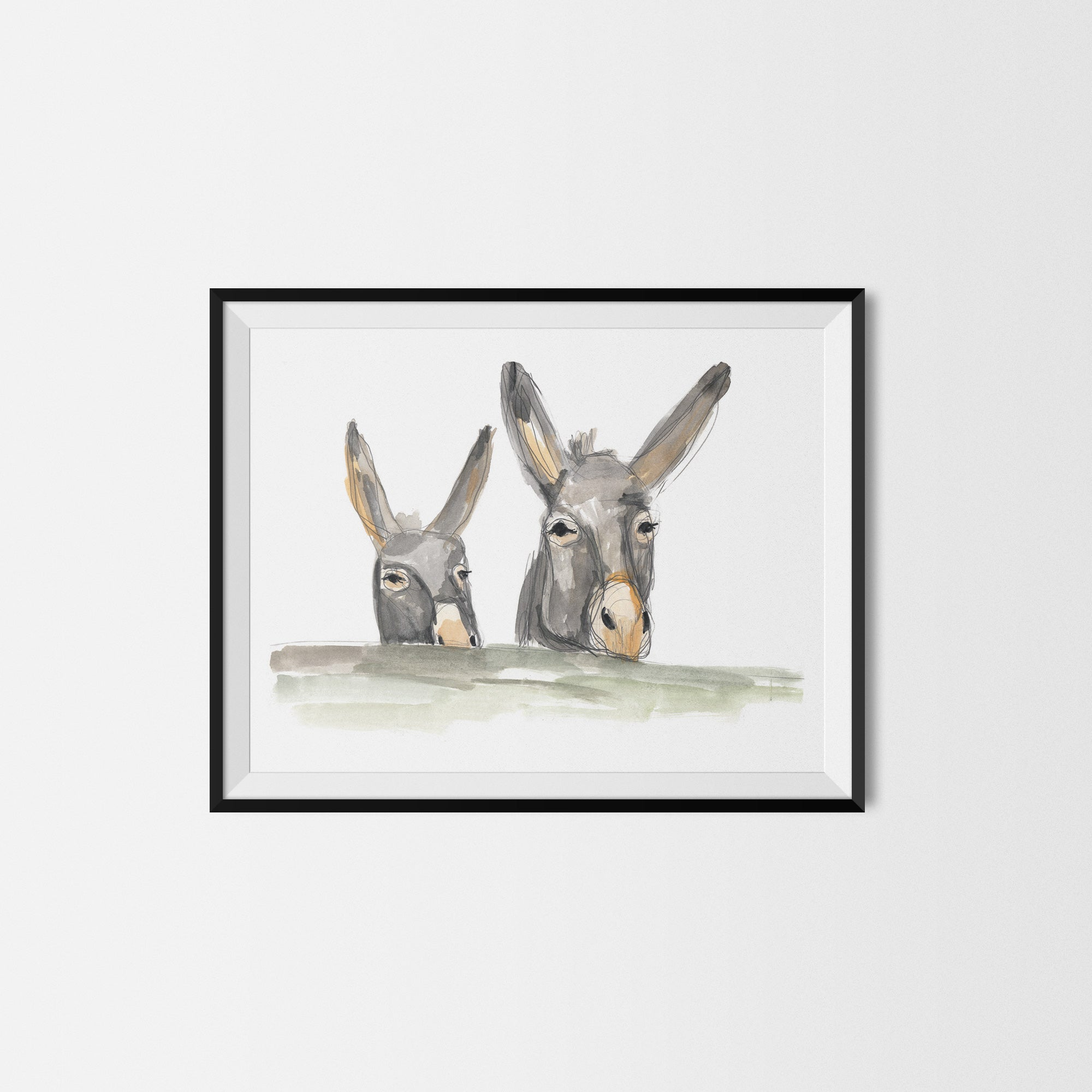 Two Donkeys Art Print
