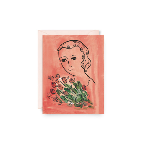 Woman with Flowers Card