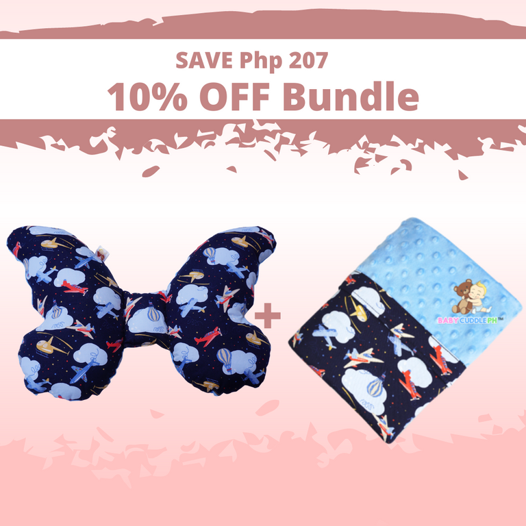 Butterfly Pillow and Babycuddle blanket - Airplanes in Dark Blue