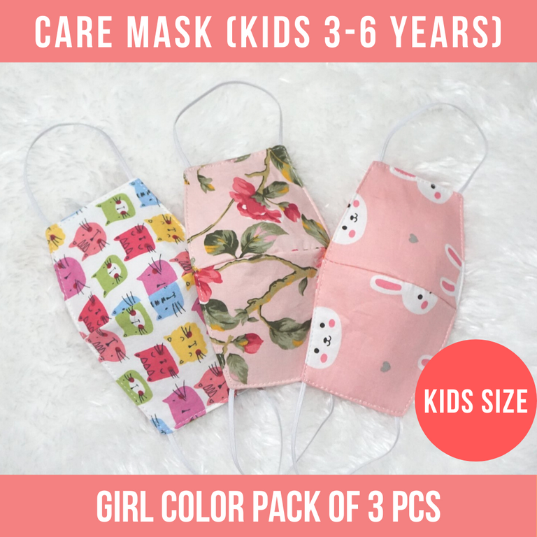 3 PCS  Care  Mask  (KIDS 3-6 years) - GIRL DESIGN