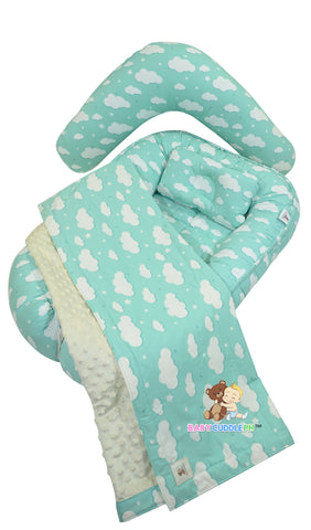 Babycuddleph Mom and Baby Set- Big Green Clouds