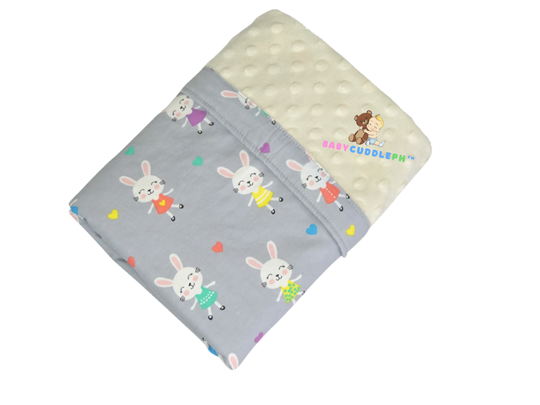 Babycuddle Blanket -  Little Bunny in Pastel Gray