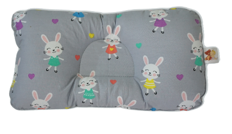 Little Bunny in Pastel Gray -  Babycuddle Head Pillow