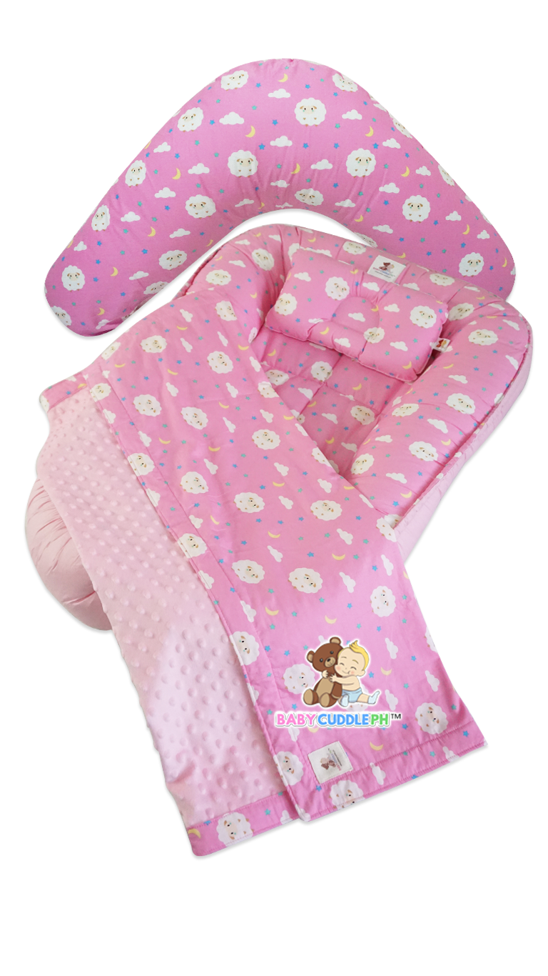 Babycuddleph Mom and Baby Set - Baby Sheep in Pink