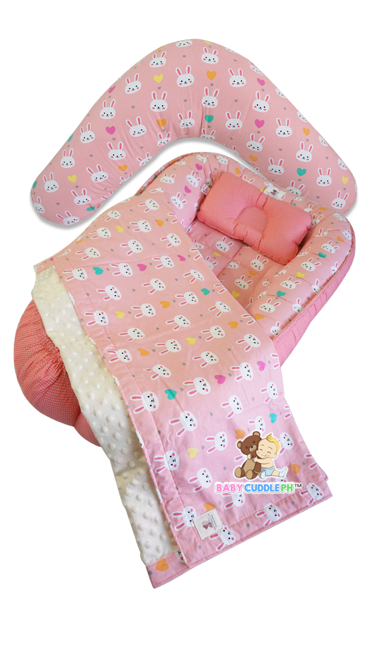 Babycuddleph Mom and Baby Set - Bunny in Coral Pink