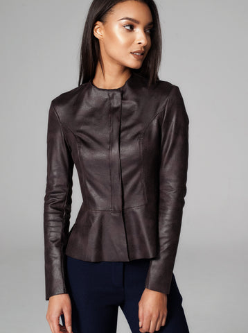 Diane Paris - Eco Leather Black Peplum Jacket