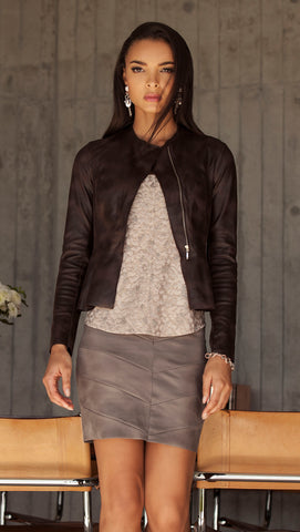 Diane Paris - Eco Leather Brown Peplum Jacket