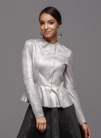 Diane Paris - Eco Leather Silver Peplum Jacket