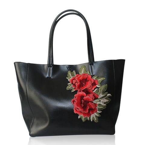Will-Ahsi - Gwen Embroidered Tote in Black - Oluwa & Celestin