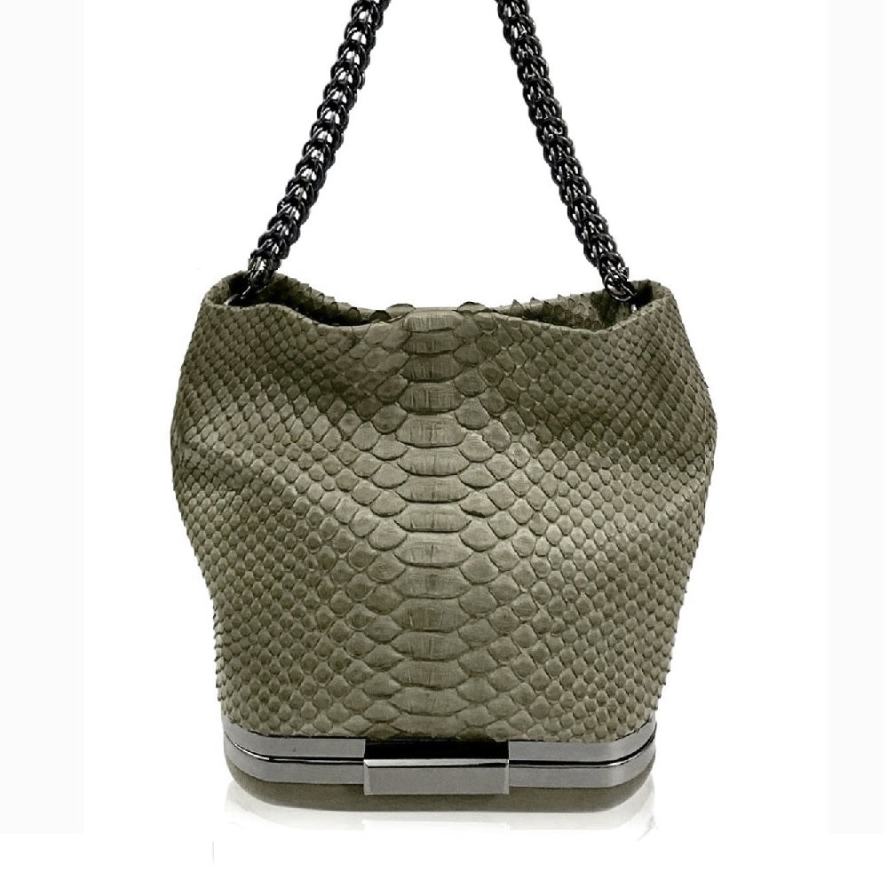 Kamilah Willacy - Hulet Python Bag in Sage Green