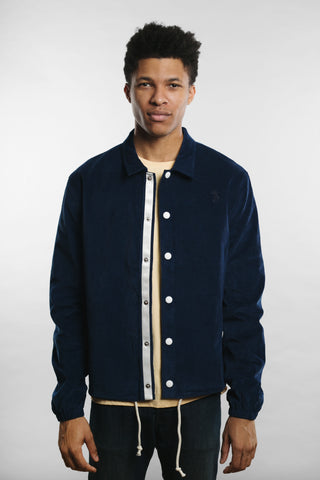 Qilo - Corduroy Coach Jacket in Navy