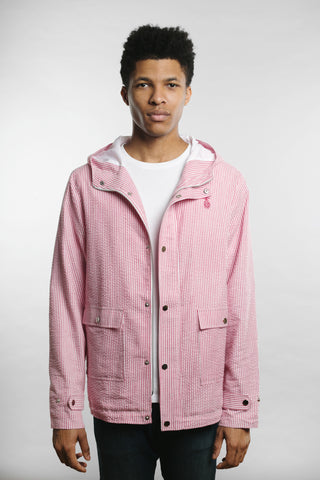 Qilo - Seersucker Anorak Jacket in Red