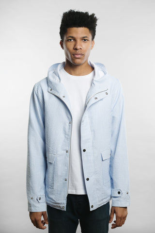 Qilo - Seersucker Anorak Jacket in Blue