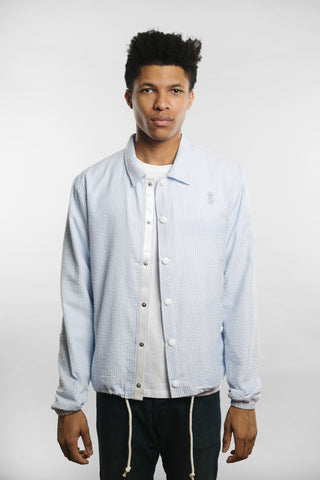 Qilo - Seersucker Coach Jacket in Blue