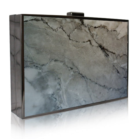 Kamilah Willacy - Omani Pewter Gray Marble Clutch - Oluwa & Celestin