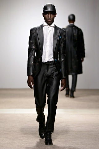 Tokyo James - Leather Beaded Suit Jacket & Classic Trousers