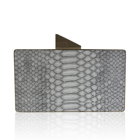 Kamilah Willacy - Crocodile Square Clutch in Midnight Blue