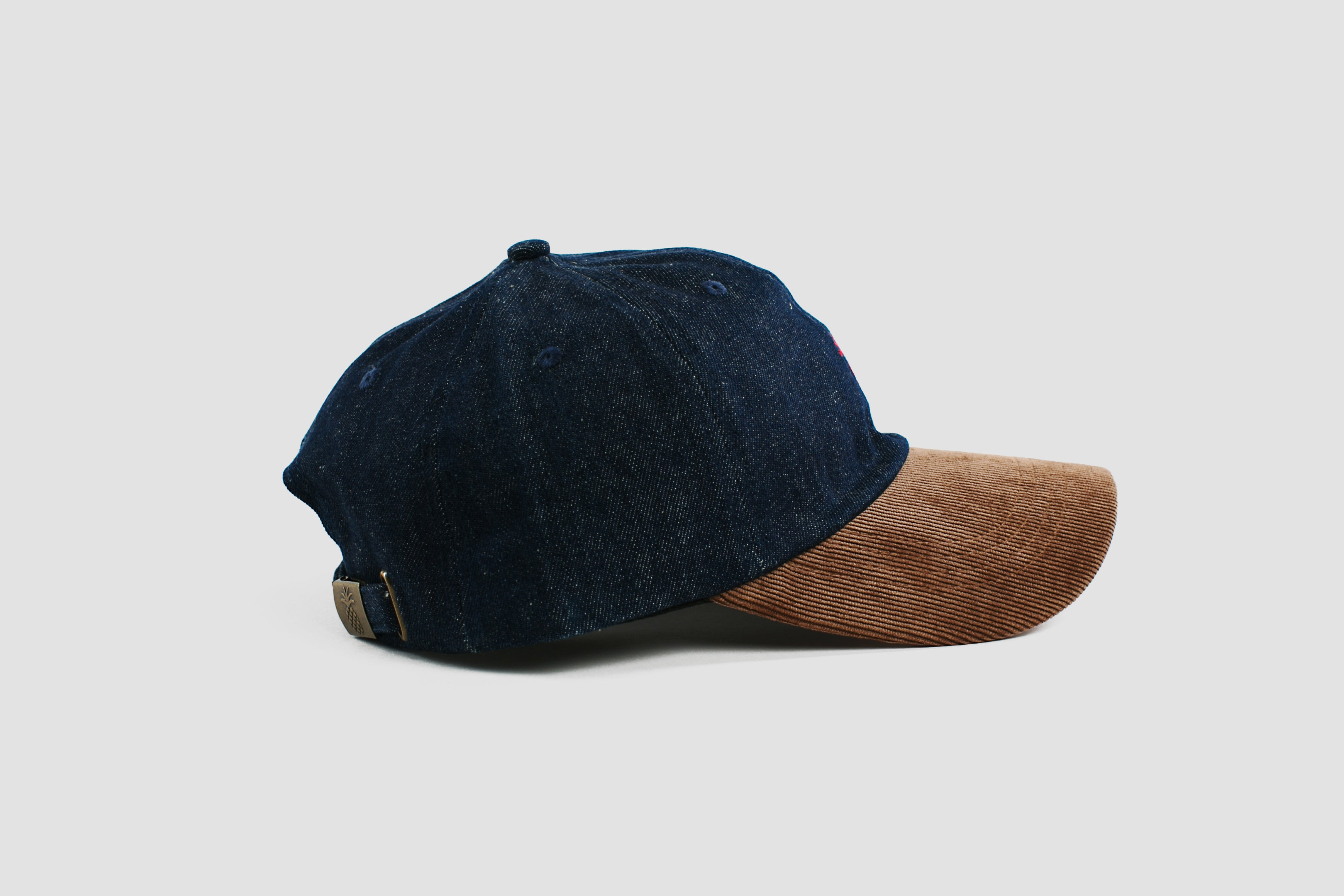 Qilo - Pineapple Two-Tone Dad Hat in Denim & Corduroy