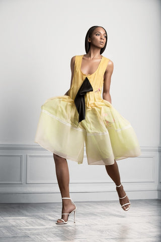 Sukeina - Silk Pleated Culottes in Gold Ombre & Lime - Oluwa & Celestin