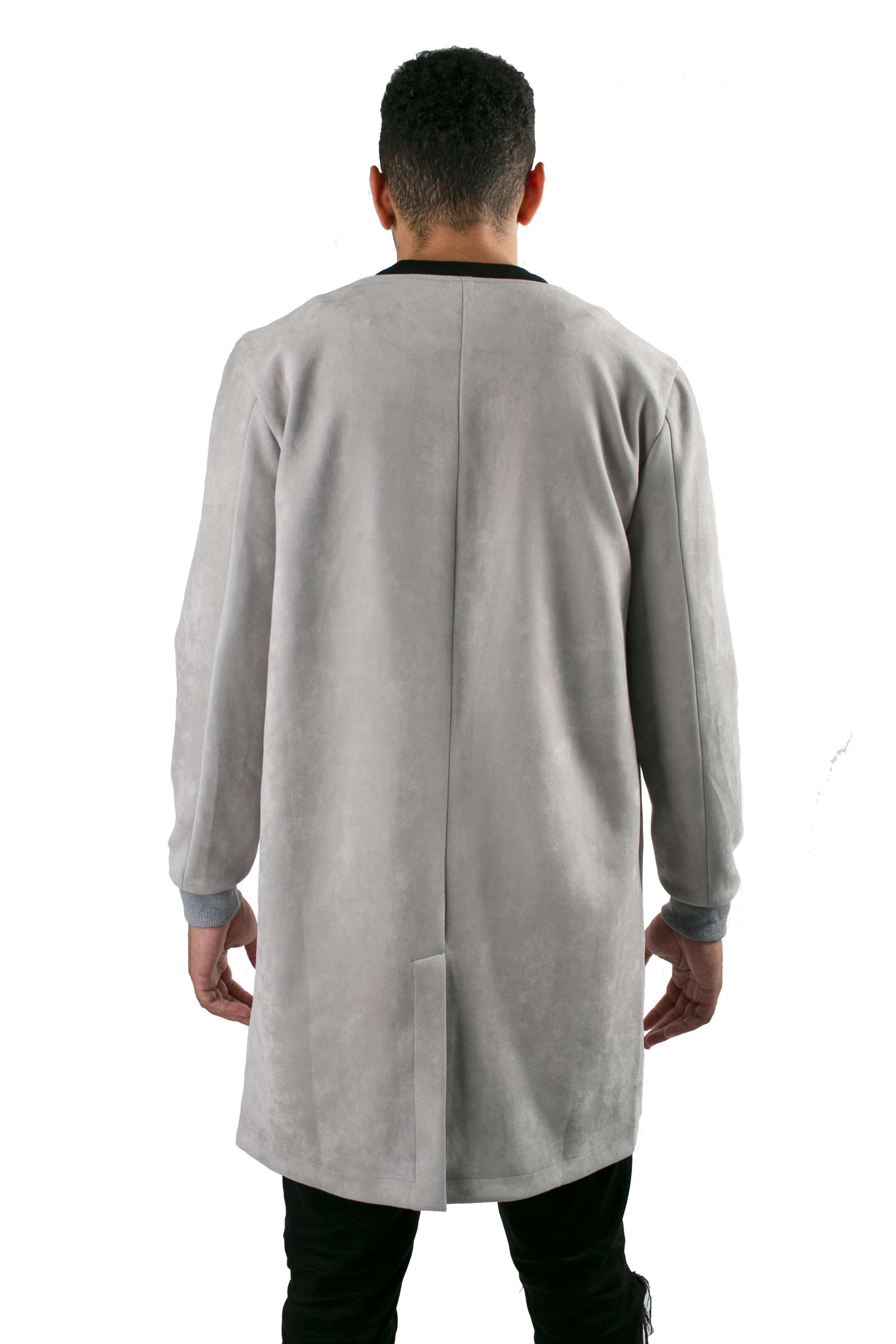 Qilo - Suede Collarless Ash Gray Longline Coat