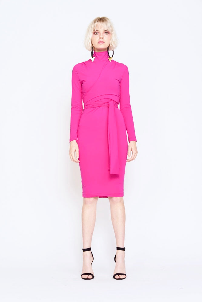 Undra Celeste - Joi Turtleneck Dress in Electric Pink
