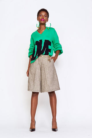 Undra Celeste - Wide Leg Cropped Pant in Green