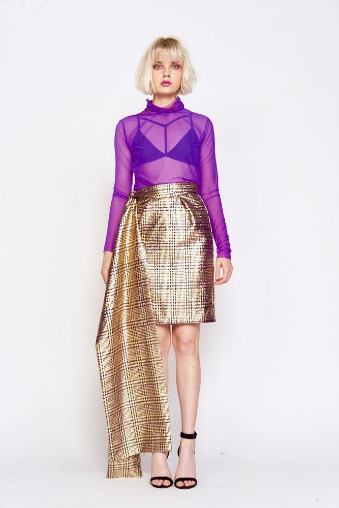 Undra Celeste - Gold Plaid Pencil Skirt