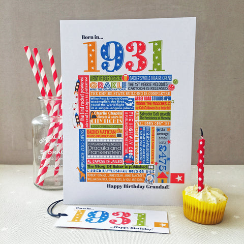 1931 (90th) Personalised Birthday Card with Matching Gift Tag