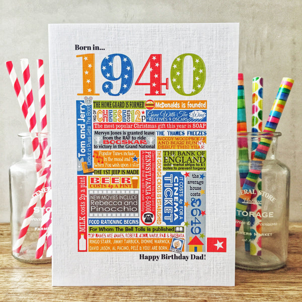 Born in 1940 (80th) Personalised Birthday Card and Gift Tag